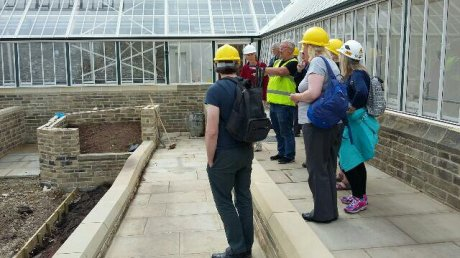 Mel Smith Parks Manager showing Sketchers the glasshouses